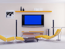 Modern apartments with the TV Royalty Free Stock Image