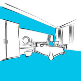 Modern Appartment, King Size Bed, Blue Series. Hand-drawn Vector Artwork Royalty Free Stock Photos