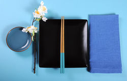Modern aqua blue theme Japanese Oriental Table Place Setting Stock Image