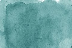 Modern aquamarine watercolor background texture. The color splas. Aquamarine watercolor brush strokes background design isolated. Hand-drawn blob, spot Stock Photography