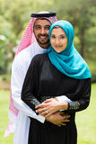 Modern Arabian couple. Hugging outdoors Stock Photography