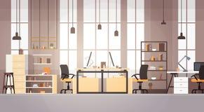 Modern arbetsplats för idérik universitetsområde för kontorsCo-arbete mitt vektor illustrationer