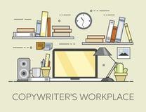 Modern arbetsplats i regeringsställning Hemtrevlig inrikesdepartementetinre Arbetsplats för copywriter s Arkivfoto