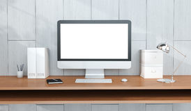 Modern arbetsplatsinre med den dator- och för apparater 3D tolkningen Royaltyfri Bild
