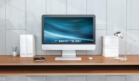 Modern arbetsplatsinre med den dator- och för apparater 3D tolkningen Royaltyfria Bilder