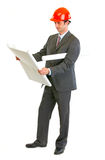 Modern architect checking architectural plans Stock Photos