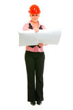 Modern architect woman with open flip chart Stock Image