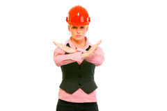 Modern architect woman showing stop gesture Stock Photos