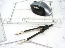 Modern architect workdesk Royalty Free Stock Image