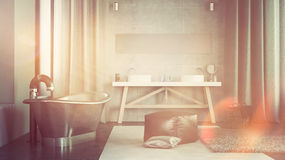 Modern Architectural Bathroom Illuminated by Light Royalty Free Stock Photo