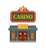 Modern architectural casino building, gambling house for games, Las Vegas. Modern architectural casino building, gambling house for games. Building for night Stock Photography