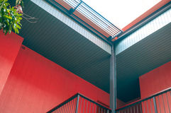 Modern architectural construction of wooden slats roof design Royalty Free Stock Photography