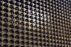 The texture of the metal facade of the building. stock photo