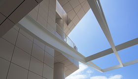 Modern architectural features of the Getty. Tile walls and metal roof beams at the Getty Museum, Los Angeles, California Royalty Free Stock Photos