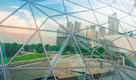 Modern architectural glass reflecting square picture. On Aug. 25, 2013 in Guangzhou, China stock photography