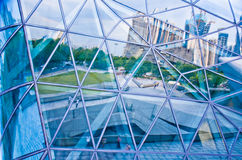 Modern architectural glass reflecting square picture. In guangzhou stock image