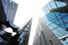 Modern architectural lines of corporate buildings. Modern architectural lines of glass towers Royalty Free Stock Photos