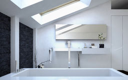 Modern Architectural White Bathroom Design Royalty Free Stock Photos