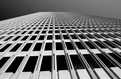Modern Architecture. Looking up tall building in San Francisco, black and white Stock Photography