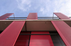 Modern architecture. Red metal balcony Stock Image