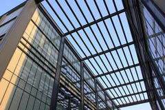 MODERN ARCHITECTURE. Modern business architecture with steel and glass roof Stock Photography
