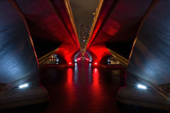 Modern architecture. Tunnel of lights and modern architecture Stock Image