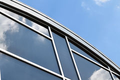 Modern Architecture. Building detail against blue sky with white space Royalty Free Stock Photo