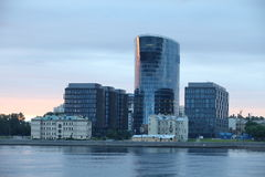Modern architecture. Malookhtinsky embankment in St. Petersburg Royalty Free Stock Photos