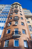 Modern Architecture. Modern building from a brick. Glass balconies Royalty Free Stock Photography