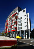 Modern architecture. Modern building with red details on facade Royalty Free Stock Photo