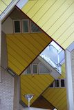 Modern architecture. Yellow cube houses in rotterdam, the Netherlands stock photos