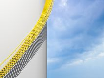 Modern architecture background, yellow stairs. Goes over round white wall, 3d illustration Royalty Free Stock Photography