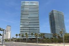Modern architecture in Barcelona. BARCELONA, SPAIN - JULY 7, 2015: New modern architecture in the Diagonal Mar i el Front Maritim del Poblenou area stock images