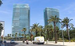 Modern architecture in Barcelona. BARCELONA, SPAIN - JULY 7, 2015: New modern architecture in the Diagonal Mar i el Front Maritim del Poblenou area stock photos