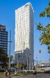 Modern architecture of Barcelona. BARCELONA, SPAIN - JULY 12, 2016: New modern architecture in the Diagonal Mar i el Front Maritim del Poblenou area stock photo