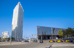 Modern architecture of Barcelona. BARCELONA, SPAIN - JULY 12, 2016: New modern architecture in the Diagonal Mar i el Front Maritim del Poblenou area stock images