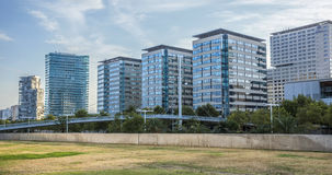 Modern architecture of Barcelona. BARCELONA, SPAIN - JULY 12, 2016: New modern architecture in the Diagonal Mar i el Front Maritim del Poblenou area royalty free stock image