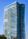 Modern architecture of Barcelona. BARCELONA, SPAIN - JULY 3, 2016: New modern architecture in the Diagonal Mar i el Front Maritim del Poblenou area royalty free stock image