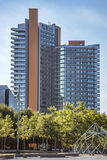 Modern architecture of Barcelona. BARCELONA, SPAIN - JULY 3, 2016: New modern architecture in the Diagonal Mar i el Front Maritim del Poblenou area royalty free stock photos