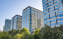 Modern architecture of Barcelona. BARCELONA, SPAIN - JULY 3, 2016: New modern architecture in the Diagonal Mar i el Front Maritim del Poblenou area stock image