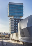 Modern architecture of Barcelona. BARCELONA, SPAIN - JULY 3, 2016: New modern architecture in the Diagonal Mar i el Front Maritim del Poblenou area royalty free stock photography