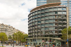 Modern architecture in Barcelona, Spain. Barcelona, Spain - October 6, 2013: View at new modern houses in downtown Barcelona, Spain royalty free stock photo