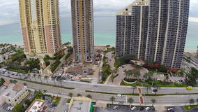 Modern architecture on the beach. Aerial footage of modern architecture in Sunny Isles Beach Florida stock footage