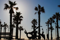 Modern architecture on the beach of Barcelona, Swimming Hommage sculpture royalty free stock image