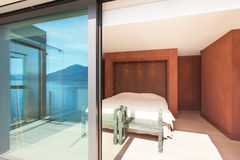 Modern architecture, beautiful bedroom. Modern architecture, Interior, beautiful penthouse, bedroom Stock Photography