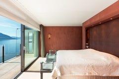 Modern architecture, beautiful bedroom. Modern architecture, Interior, beautiful penthouse, bedroom Royalty Free Stock Photo