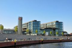 Modern architecture in Berlin. Modern architecture on the banks of the river Spree . View from the tour boat. Berlin. Germany Stock Photography