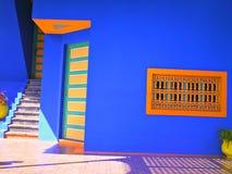 Blue and Orange Architecture in Majorelle Garden, Marrakech, Morocco royalty free stock photo
