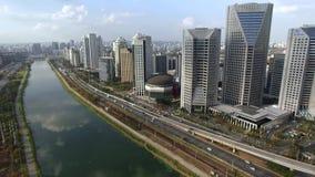 Modern architecture. Modern bridges. Cable stayed bridge in the world. Aerial view of Octavio Frias de Oliveira Bridge and Margina stock video
