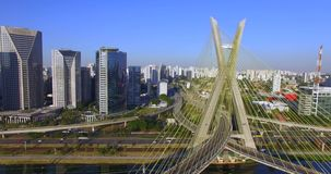 Modern architecture. Modern bridges. Linking two different points. Cable stayed bridge in the world. stock footage
